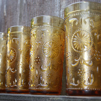 glass cups amber set of four vintage 1970s