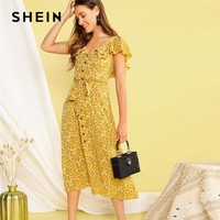 SHEIN Boho Yellow Buttoned Ditsy Floral Ruffle Trim Self Belted Summer Long Dress Women 2019 V Neck Fit and Flare Shirt Dresses