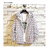 Couple Casual Fashion Multicolor Letter Long Sleeve Hooded Zip Cardigan Coat