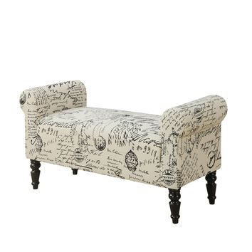 """Bench - 44""""L / Traditional Style Vintage French Fabric"""