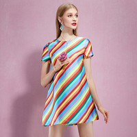 Casual Rainbow Stripe Mini Dress