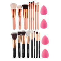 8pcs Rose Gold Makeup Brushes Professional Blusher Eye Shadow Foundation Brush Set+ 2pcs Makeup Sponge pincel maquiagem