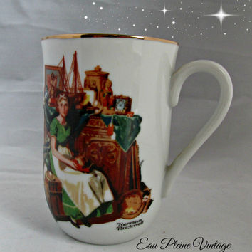 Norman Rockwell Mug Cup Dreams In The Antique Shop 1985