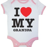 So Relative! I Love My Grandpa (Red Heart) Pink Ringer Baby Infant Short Sleeve Bodysuit Creeper