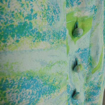 ON SALE 60s Dress // Vintage Aqua Blue and Green Abstract Print Silk Shift Dress by Ivan Frederics of California Size L