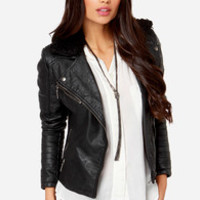 Sure Thing Black Vegan Leather Jacket