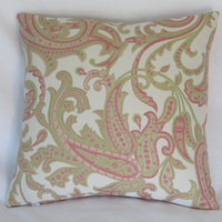 "Pink and Green Paisley Pillow Cover, 15"" Square, Cotton Blend Brocade on Soft White, Preppy Boho Decor, Ready Ship"