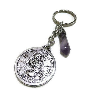 St. Christopher Charm/Keyring with Amethyst Gemstone, Car Accessory, Protection Keyring, Lucky Key Chain, Amethyst Keyring, Bag Charm, Gift