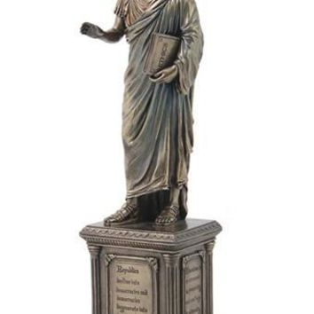 Aristotle Ancient Greek Philosopher Statue Bronze Finish 14.5H