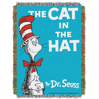 Dr. Suess Cat Book Cover  Woven Tapestry Throw (48inx60in)