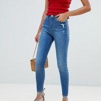 Miss Selfridge Lizzie Mid Wash Skinny Jeans at asos.com