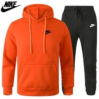 Nike letter printed hooded sweater casual men's two-piece sports suit
