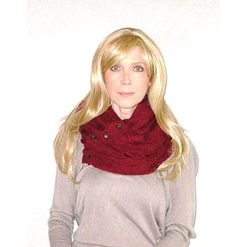 SALE 50% OFF Boho Buttons Infinity Scarf Burgundy Chunky Soft Multiple Wood Button Winter Eternity Scarves