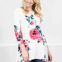 Poppy Floral Ivory Tunic