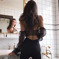 Vest Spaghetti Strap Bra Hot Sale Winter Women's Fashion See Through Lace Loudspeaker [510292623414]