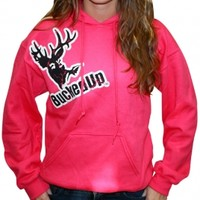 Distressed Hoodie - Berry Pink with White Logo: Hunting Apparel | Hunting Clothes | Shirts | Stickers | Decals