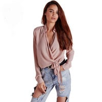 Flesh Pink Wrap V-Neck Bow Lace Long Sleeves Blouse