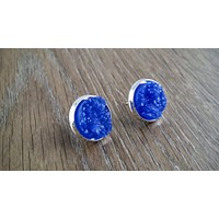 Druzy earrings- dark blue drusy silver tone stud druzy earrings
