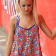 Great Expectations Spaghetti Strap Red And Blue Floral Print T-Strap Tank Top