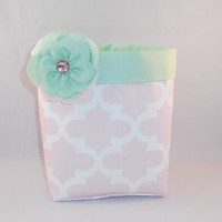 Pink and Mint Green Fabric Basket With Detachable Fabric Flower Pin For Storage Or Gift Giving