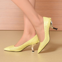 Pointed Toe Hollow Out With Heel Butterfly Leather Summer Shoes [4920468804]