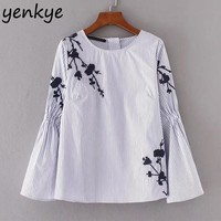 Women Floral Embroidery Blouse O Neck Long Sleeve Casual Loose Pullover Top Autumn Vintage Striped Blouses