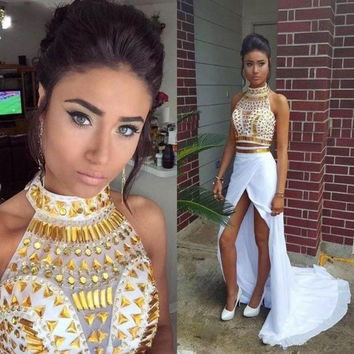 Two Piece White and Gold Prom Dresses with Rhinestones 2016 High Quality Mermaid Side Slit Beaded Crystals Long Evening Dresses