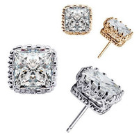 Remarkable Men's Women's Lover Wedding Cocktail Party Square Crown Hollow Zircon Stud Earrings Jewelry = 1946857412