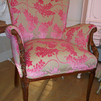 Valentine Shaped  Antique Carved Accent Chair by VintiqueStudio