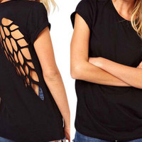Wing Cut-Out Back T-Shirt