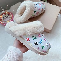 LV Louis Vuitton UGG letter print plush slippers toe boots Shoes White