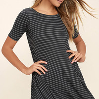 Billabong Lost Heart Charcoal Grey Striped Dress