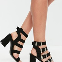 Missguided - Black Western Buckle Block Heel Sandals