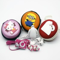 2016 high quality fashion cartoon mini Baymax hello Kitty despicable me Minion MP3 music player with earphone and cable bag