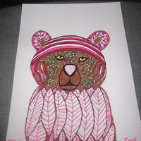 What A Cougar Mixed Media Painting in Pinks and Reds Zentangle Tangle Doodle