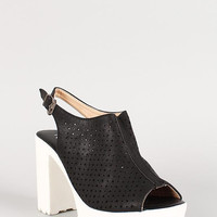 Perforated Leatherette Stars And Circles Slingback Lug Sole Heel Color: Black, Size: 6