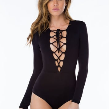 Cutout V-Neck Drawstring Long-Sleeve Romper
