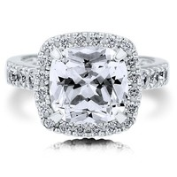 BERRICLE Sterling Silver Cushion Cut Cubic Zirconia CZ Halo Womens Fashion Right Hand Cocktail Ring