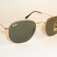 New RAY BAN Hexagonal Flat Sunglasses Gold Frame RB 3548N 001 G-15 Lenses 54mm