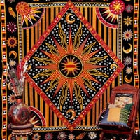 Twin Hippie Celestial Sun Tapestry ,Sun Moon Stars Tapestry Wall Hanging ,Cotton Day Light Sun Print Indian Tapestry