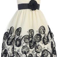 Ivory Tulle & Black Floral Soutache Ribbon Girls Holiday Dress 2T-12