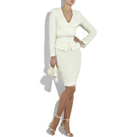 White tulle ruched pencil skirt