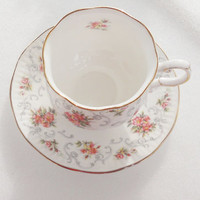 Cottage Style Footed Teacup and Saucer, Tea Party, Shabby Chic, English Cottage, Hollywood Regency, French Decor