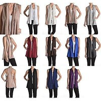 Solid Colors Sleeveless Summer Shawl Collar Open Cardigan Knit Top Blouse Vest