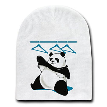'Outfit' Funny Panda Bear Putting Clothes On - White Beanie Skull Cap Hat