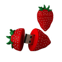 Free Shipping Strawberry Pendrive USB Flash Drive 128MB 2GB 4GB 8GB 16GB 32GB 64GB Pen Drives Flash U Stick USB 2.0 DriveFalsh