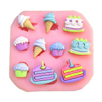 free shipping ice cream cooking tools wedding decoration baking Silicone Mould Fondant Molds DIY Cake candy Sugar Craft fimo