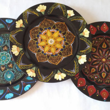 Decorative plates, hand painted plates, set of plates, decorative wall plates, hand painted platters, wall decor plates, plate decoration