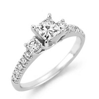 1/2 CT. T.W. Certified Princess-Cut Diamond Three Stone Engagement Ring in 14K White Gold (H-I/SI2) - Save on Select Styles - Zales