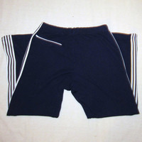 Vintage Soft 70s ACRYLIC STRIPED GYM Large Comfortable Navy Blue Work Out Athletic Lounge Sweatpants